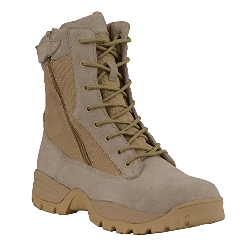 Milwaukee Leather Mens 9in Desert Sand Leather Tactical Boots with Side Zippers - 10 (Leather Sand Boots)