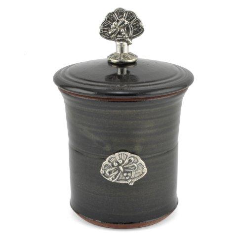 - Oregon Stoneware Studio Dragonfly Garlic Pot with Pewter Finial, Blackberry