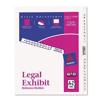 (Avery 11374 Premium Collated Legal Index Exhibit Dividers, A-Z and Table of Contents, Side-Tab, 8.5 x 11-Inches, 3 Sets)
