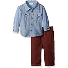 Bon Bebe Baby Boys' 2 Piece Longsleeve Collared Botton Front Shirt with Woven Pant