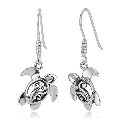 925 Oxidized Sterling Silver Open Filigree Dangling Sea Turtle Dangle Earrings 1.1