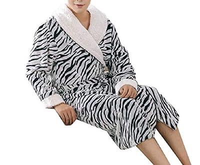 FLCH+YIGE Men's Homewear Zebra Print Bathrobe Long Sleeve Flannel Thick Robes