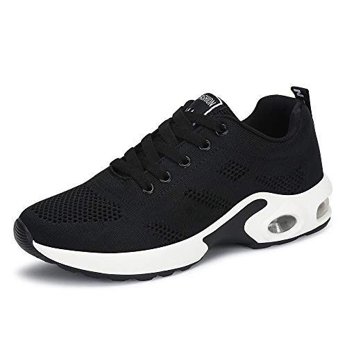 PAMRAY Women's Athletic Running Shoes Tennis Breathable Walking Sneakers Air Gym Sport Fitness Black 40