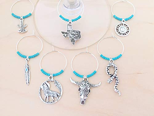Texas Wine Charms: Southwestern Wine Glass Markers. Texas, Rattlesnake, Bull Skull, feather, cactus, tribal sun, coyote. Set of 8. TURQUOISE BEADS ()