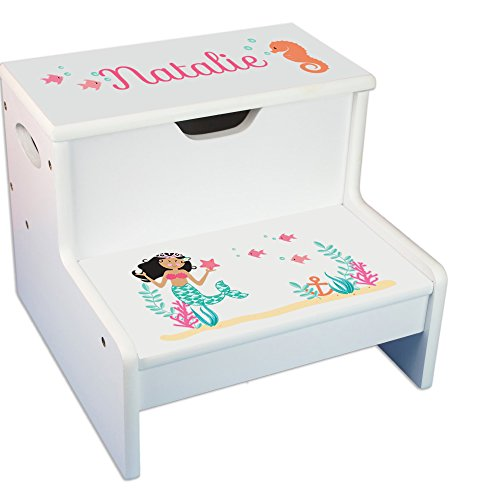 - Personalized African American Mermaid Princess White Childrens Step Stool with Storage