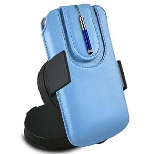N4U Online - Samsung Galaxy S4 i9500 protección PU deslizamiento del lazo magnético en una bolsa con la caja de liberación rápida, 360 Rotating del parabrisas del coche cuna y Mini capacitivo Stylus Pen retráctil - Baby Blue