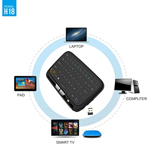 MChoice❤️H18 2.4GHz Wireless Rechargeable Keyboard&Touchpad Combo for PC Smart TV Android Black
