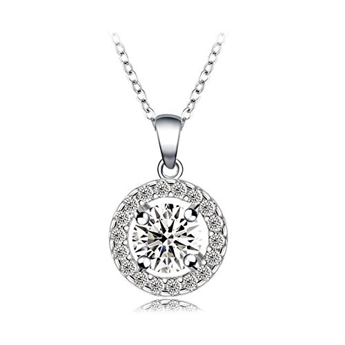 FENDINA Jewelry Luxurious Circle Solitaire Filigree 18K White Gold Plated Cubic Zirconia Studded Pendant Necklace