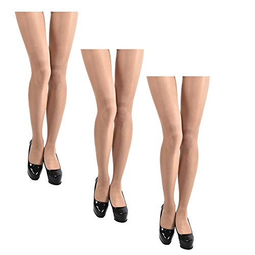 JIAYI Women's Sheer To Waist Sexy Silk Pantyhose Tights From S To XXXXL(Nude 3 Pairs+1 as gift)