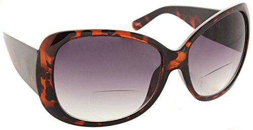 Womens Bifocal Sunglasses Sun Readers Jackie O Designer Style Glasses [Tortoise, 2.25]