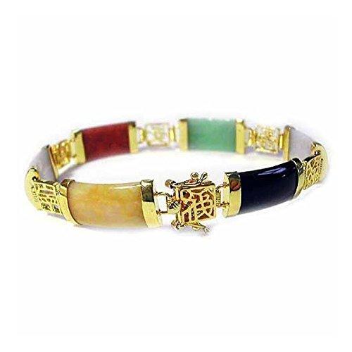 7.25' Link (Gold Tone Over Sterling Silver Multicolor Jade Chinese Motif Bracelet, 7.25'')