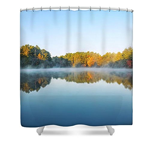 Pixels Shower Curtain (74'' x 71'') ''Mirror Lake'' by Pixels