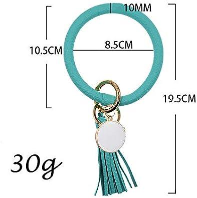 Wristlet Keychain Bracelet Bangle Keyring Large Circle Key Ring Leather Tassel Bracelet Holder For Women Girl