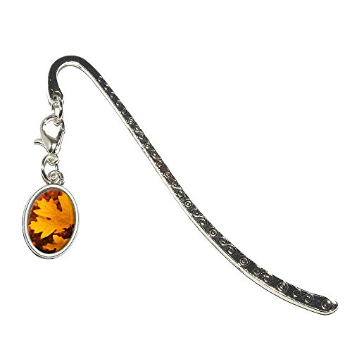 Graphics and More Gold Orange Leaves - Fall Autumn Colors Metal Bookmark Page Marker with Oval (Oval Fall Colors)