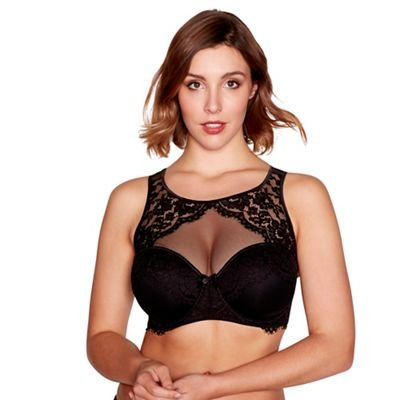 fe3a7f8a0d2de Debenhams Gorgeous Dd+ Black Floral Lace and Mesh  Ruby  Underwired Padded  High Neck Bra  Gorgeous DD+  Amazon.co.uk  Clothing