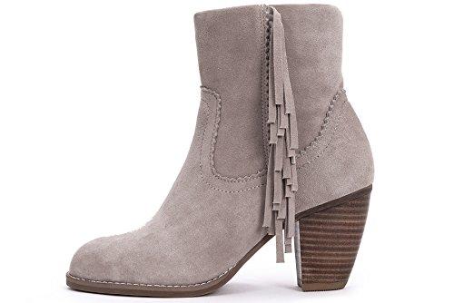 OZZEG À Talons Hauts Féminines Bottes Chaussures de Qualité en Cuir Hiver Chaud Doublure (39.5, Rose)