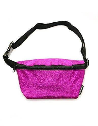 FYDELITY Fanny Pack Waist Bag Ultra-Slim Holographic: DAZZLER MAGENTA GLITTER