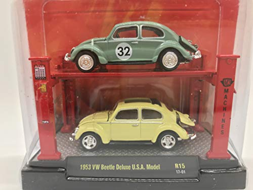 M2 Machines Auto-Lift 2 Pack 1953 VW Beetle Deluxe U.S.A. Model R15 17-01 Yellow/Turquoise Details Like NO Other! (M2 Machines Auto Lift)