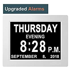 [8 Alarms] Large Alarm Day Clock Digital Date Calendar for Memory Loss Elderly Seniors Dementia Sufferers Alzheimers Products Wall Vision Impaired Patients Kids Room (8'' White)