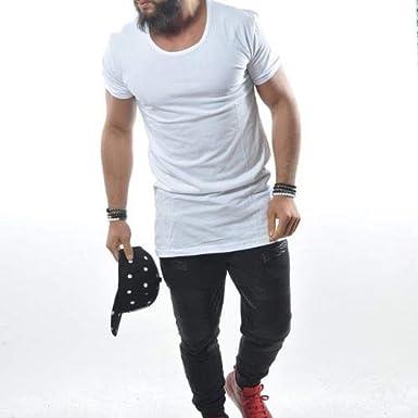 Deep Shirt Basic oversize Style a maniche lunghe Felpa lunga da uomo con cappuccio colore bianco//nero