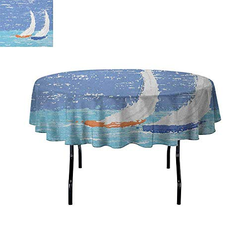 Douglas Hill Nautical Leakproof Polyester Tablecloth Grunge Style Illustration of Two Racing Sailboats in A Windy Ocean Water Print Outdoor and Indoor use D51 Inch Pale Blue (Grey Hills Tapestry Two)