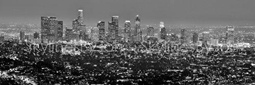 Los Angeles Skyline 2016 PHOTO PRINT UNFRAMED Dusk Black and White BW (Los Angeles Black And White)