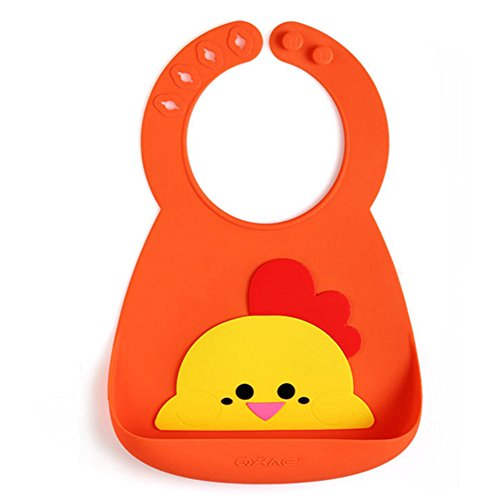 (Waterproof Food Grade Silicone Roll Up Bib with Cute Designs,Wide Pocket Food Catcher for Easy Clean Up! Comfortable Soft for Babies Toddlers! Portable, Dishwasher Safe! (orange chick style))