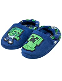 Official Minecraft Creeper vs Zombie Boys Blue Slipper Kids House Shoe