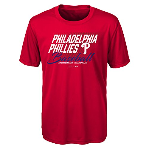 MLB Youth Boys 8-20 Phillies Short sleeve Team Color performance Tee, L(14-16), Red (Sport T-shirt Youth Team)