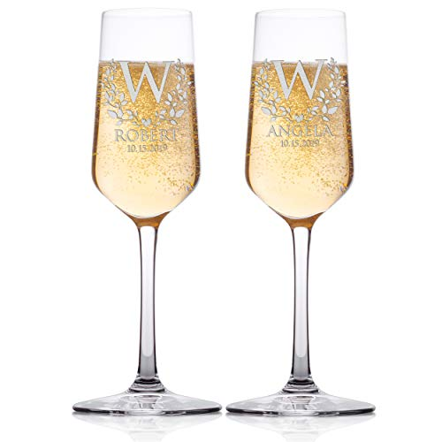 Set of 2 - Personalized Wedding Champagne Flute Glasses, Customized Wedding Champagne Glasses for Bride and Groom Names and Date With Leaves and Heart, Mr & Mrs, Celebration Champaign Flute Set - C5