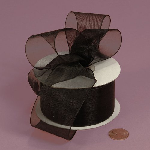 Black Shimmer Sheer Organza Ribbon, 1-1/2