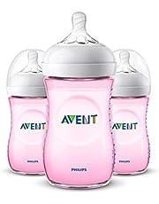 Philips Avent Natural Baby Bottles, Pink, 9oz, 3pk, SCF013/38