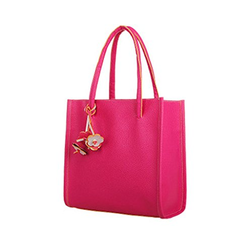Fashion Elegant Girls Handbags Leather Shoulder Bag Candy Color Flowers Women Tote (Rose-red )
