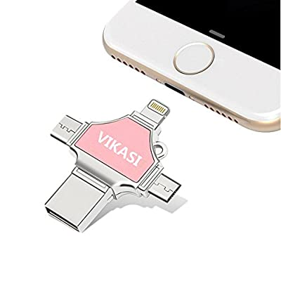 USB Flash Drive 32GB,VIKASI Thumb Drive USB 3.0 Memory Stick for iPhone 8/X iPad iPod iOS Android PC New MacBook,with Extended Lightning USB Type c Pen Jump Drive Adapter( 4 IN1 ) from VIKASI