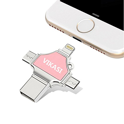 32 Gb Privacy Usb (USB Flash Drive 32GB,VIKASI Thumb Drive USB 3.0 Memory Stick for iPhone 8/X iPad iPod iOS Android PC New MacBook,with Extended Lightning USB Type c Pen Jump Drive Adapter( 4 IN1 ))