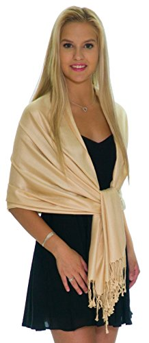 Pashmina Shawls and Wraps - Large Scarfs for Women - Party Bridal Long Fashion Shawl Wrap with Fringe by Petal Rose (Gold Champagne)