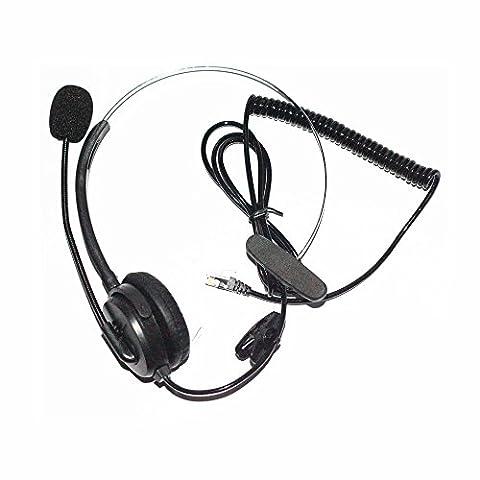 Caroo 4-pin RJ9 Headset Hands-free Call Center Desk Telephone Monaural Mic Mircrophone Black