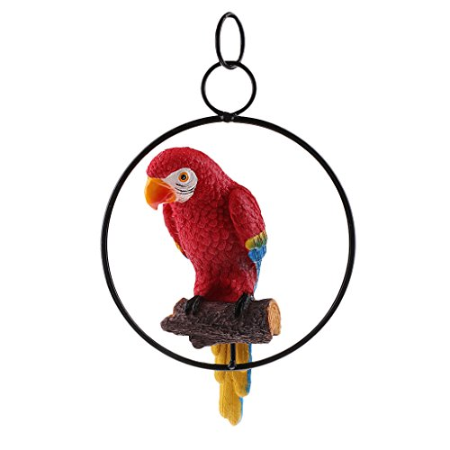 MagiDeal Simulation Parrot Bird Sculpture Wall Hanging Macaw Resin Crafts Handmade - Red #1, as described