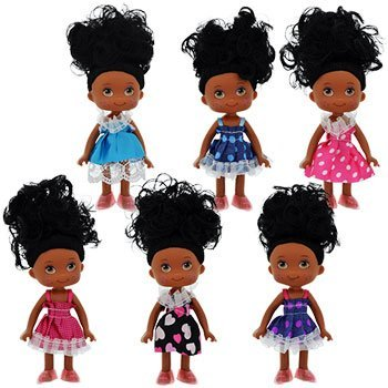 Set of 6 African-American Posable Mini Dolls, 5 in.
