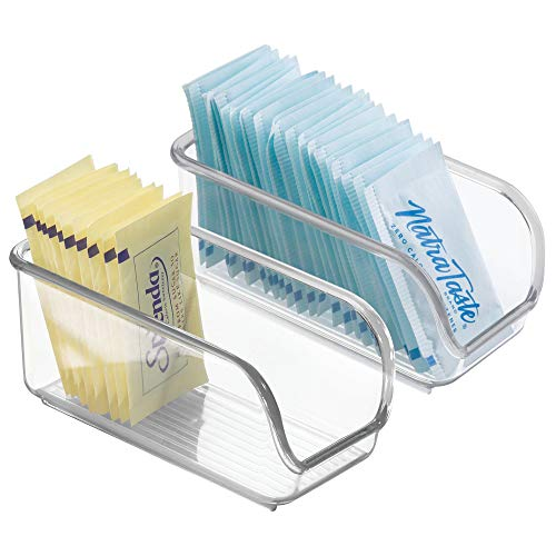 mDesign Packet Organizer for Sugar, Salt, Sweeteners, Tea Bags, Creamers - Pack of 2, Clear