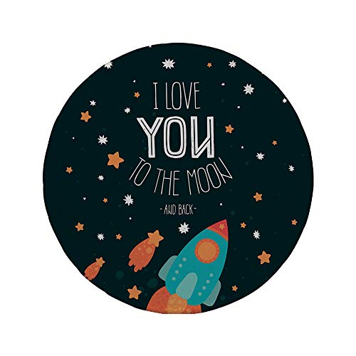 Non-Slip Rubber Round Mouse Pad,I Love You,Rocket on The Road of Space Adventurist Cosmic Couples Happy Birthday Theme Decorative,Multicolor,7.87