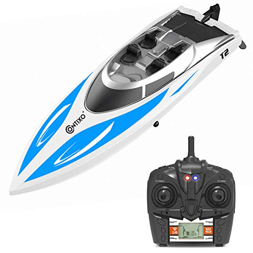 Speed Remote Control (Contixo T2 RC Remote Control Racing Sport Boat Speedboat | Swimming Pool Toy Ship, Lakes, Rivers, Recreational Hobby - Blue)