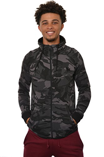 Fitted Hoodie Sweatshirt - YoungLA Men's Cotton French Terry Tech Fitted Hoodie Zip-up Running Bodybuilding Long Sleeve 505 Camo Black Medium