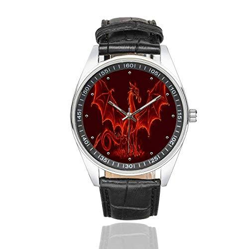 - InterestPrint Fire Medieval Dragon Men's Waterproof Wrist Watches Black Leather Band Watch
