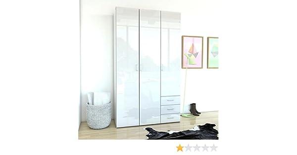 Space - Armario de 3 puertas y 3 cajones, 115 cm, color blanco brillante: Amazon.es: Hogar