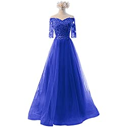 Vickyben Women's Princess Lace Appliques Tulle Evening Gown Prom Dress Bridesmaid Dress Long (14, blue3)