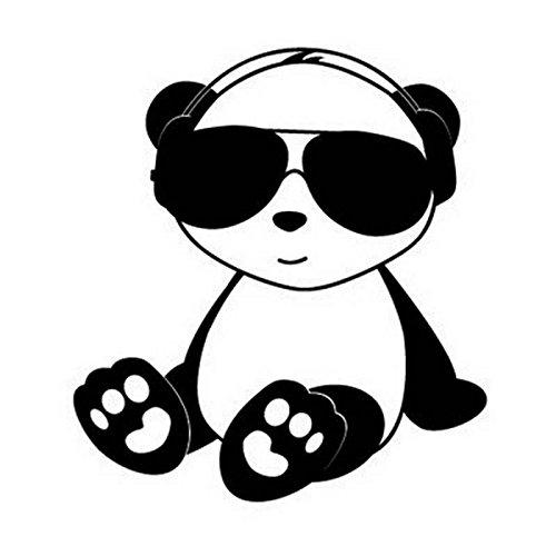 Panda Vinyl (Cool Panda JDM Decal Vinyl Sticker|Cars Trucks Vans Walls Laptop| BLACK |5 x 5.5 in|CCI1630)