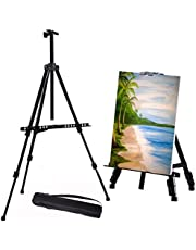 ORZIZRO Artist Easel Stand, 61 Inches Metal Tripod Painting Stand Easel Adjustable Height from 20 to 61 Inches with Portable Bag, Extra Sturdy Table-Top/Floor Easel for Painting, Drawing and Display