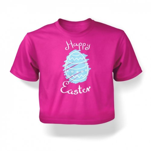 Happy Easter Blue Egg Baby T-shirt - Fuchsia 12-18 Months