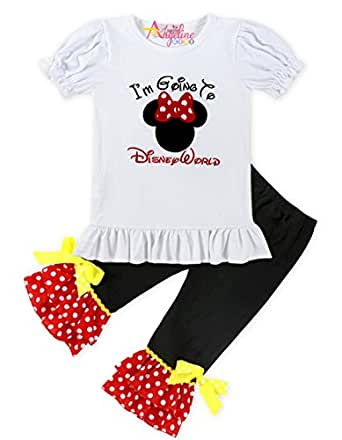Angeline Boutique Girls Cartoon Character Disney World Minnie Mouse Top Capri Set - Red - 6-12 Months